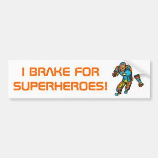 SUPERHERO IN ROBOT ARMOR BUMPER STICKER