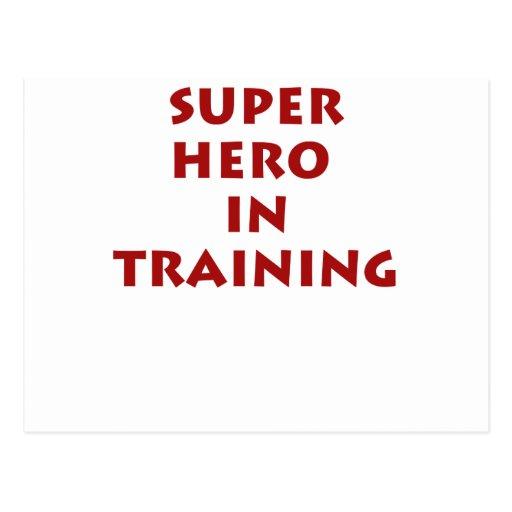 Superhero in training post card