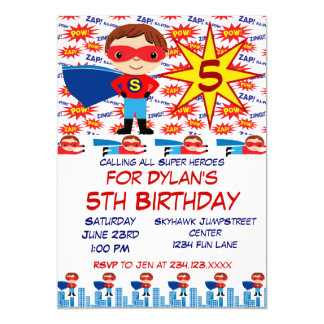 "Superhero Kids Birthday Party Invitations for Boys 5"" X 7"" Invitation Card"