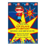 Superhero Kids Boys Birthday Party Invitation Blue 13 Cm X 18 Cm Invitation Card