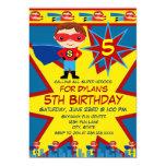 Superhero Kids Boys Birthday Party Invitation Blue 13cm X 18cm Invitation Card