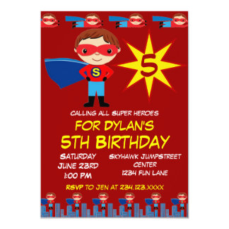 Superhero Kids Boys Birthday Party Invitations Red
