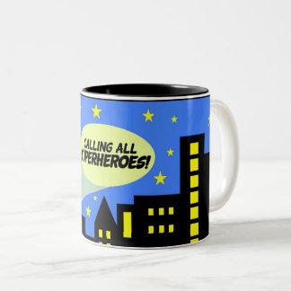 Superhero mug - city skyline & callout