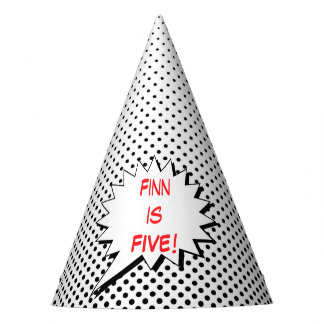 Superhero Party Hat - Black White Dot Editable