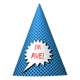 Superhero Party Hat - Blue Black Dot Custom