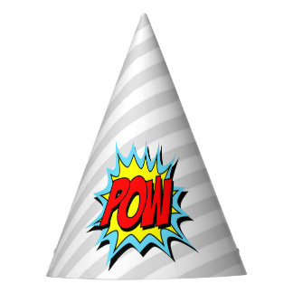 Superhero Party Hat - Gray White Stripe - POW