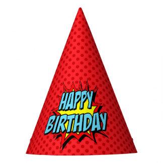 Superhero Party Hat - Red Dot Happy Birthday