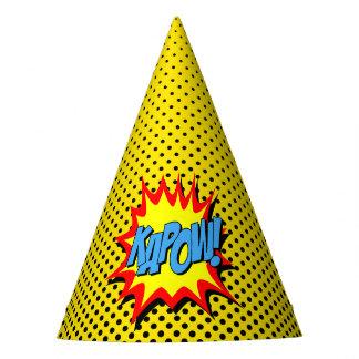 Superhero Party Hat - Yellow Black Dot - Kapow
