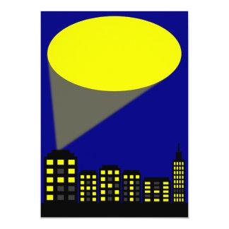 Superhero Party Invitation - Cityscape & Spotlight