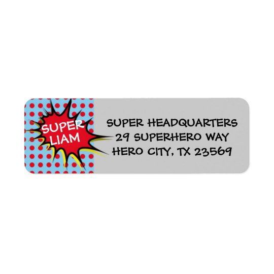 Superhero Party Invitation Return Address Labels