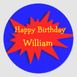 Superhero Party Theme Red Blue Round Stickers