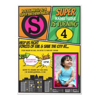 Superhero Pink Girl's Invitation Super Hero Invite