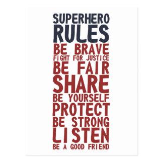 Superhero Rules Text Design Phrase Postcard