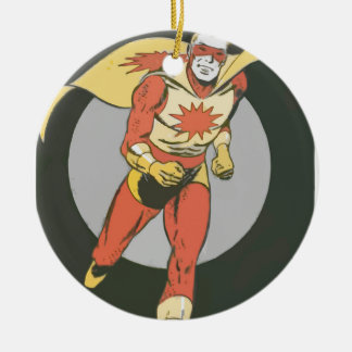Superhero with Blast Symbol running Ceramic Ornament