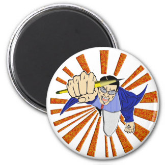 Superhero with Pencil 6 Cm Round Magnet
