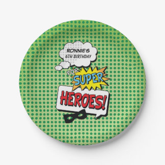Superheroes Comic Strip Mask Birthday Paper Plates