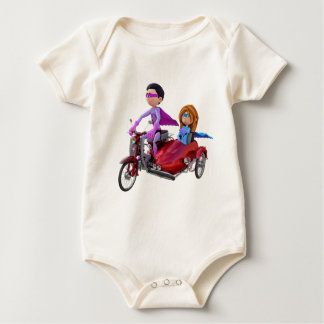 Superheroes in a Moped with a Sidecar Baby Bodysuit