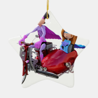 Superheroes in a Moped with a Sidecar Ceramic Ornament