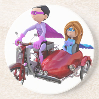 Superheroes in a Moped with a Sidecar Coaster