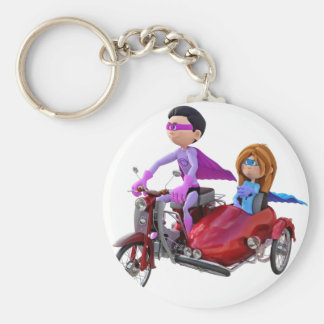 Superheroes in a Moped with a Sidecar Key Ring