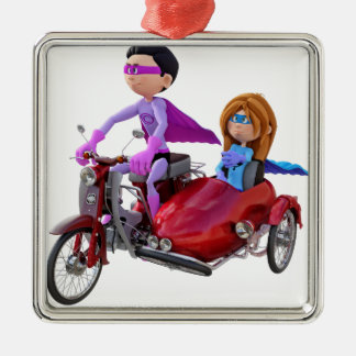 Superheroes in a Moped with a Sidecar Metal Ornament