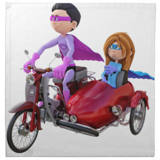 Superheroes in a Moped with a Sidecar Napkin