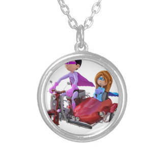 Superheroes in a Moped with a Sidecar Silver Plated Necklace