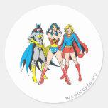 Superheroines Pose Round Sticker
