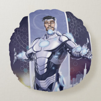 Superior Iron Man And City Round Cushion
