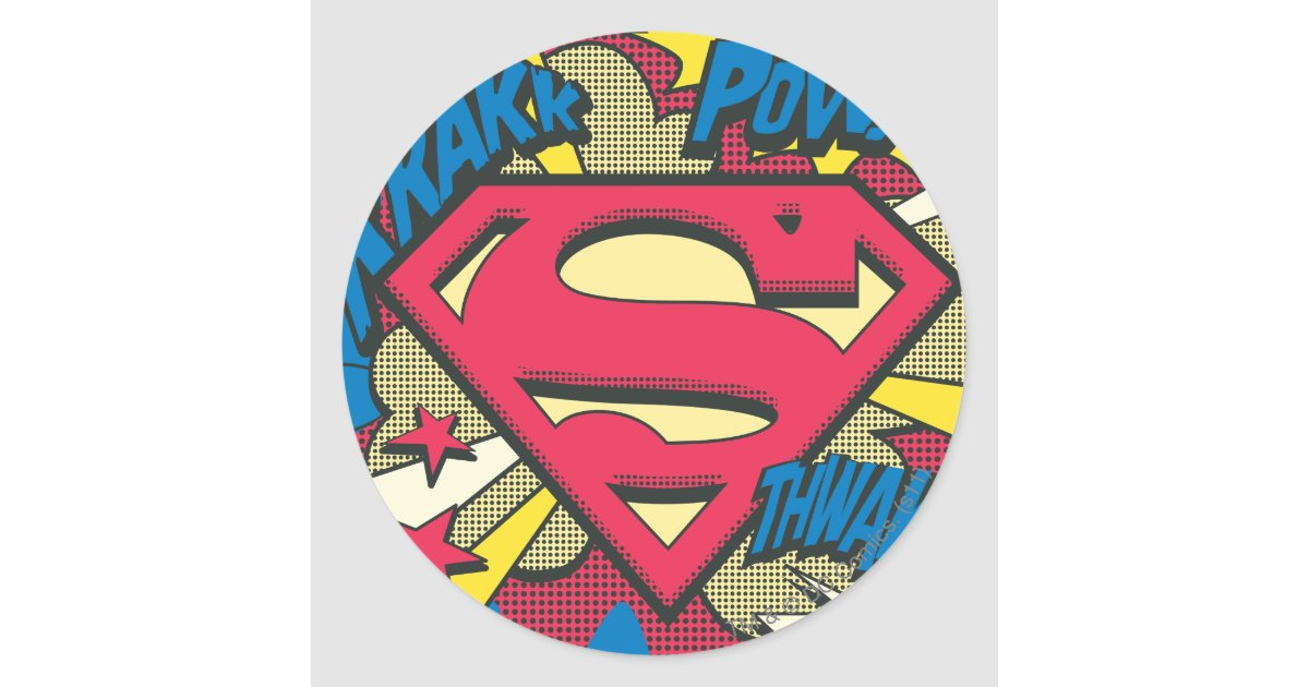 Superman 66 classic round sticker zazzle com au