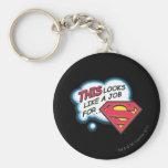 Superman 74 basic round button key ring
