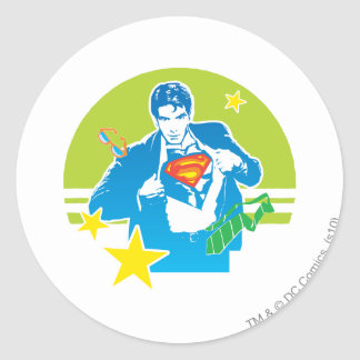 Superman 80's Style Round Sticker
