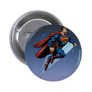 Superman against the night sky 6 cm round badge