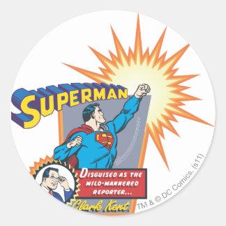 Superman and Clark Kent Round Sticker