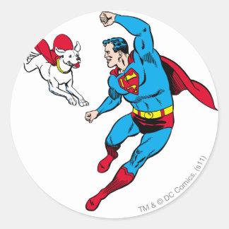 Superman and Krypto 2 Round Sticker