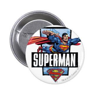 Superman and Logo Bordered 6 Cm Round Badge