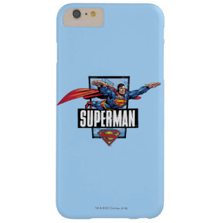 Superman and Logo Bordered Barely There iPhone 6 Plus Case