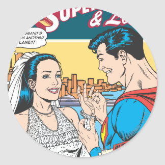 Superman and Lois Comic Round Stickers