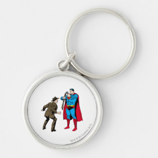 Superman bends a gun Silver-Colored round key ring