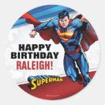 Superman Birthday Round Sticker