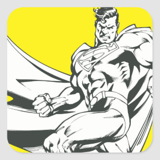 Superman Black and White 2 Square Sticker