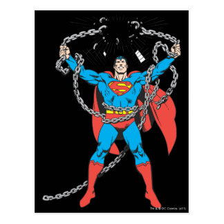 Superman Breaks Chains Postcard