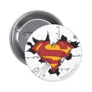 Superman broken metal 6 cm round badge
