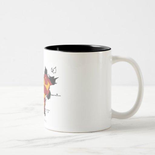 Superman broken metal coffee mug