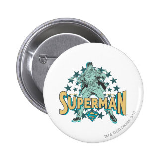 Superman changes with stars 6 cm round badge
