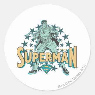 Superman changes with stars round sticker