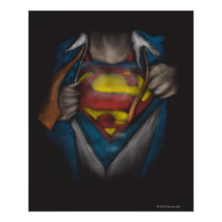 Superman   Chest Reveal Sketch Colorized Poster