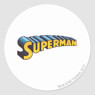 Superman Classic Name Round Sticker