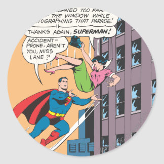 Superman Comic Panel - Accident-Prone Lois Round Sticker