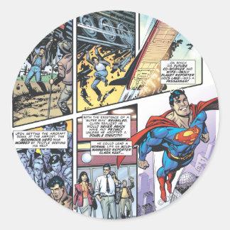 Superman Comic Panel - Clark s Origins 2 Round Stickers